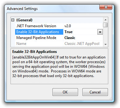 IIS7 32-bit Application Pool